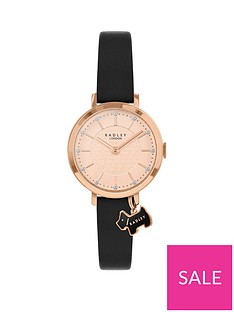 radley-radley-rose-gold-detail-glitter-dial-with-dog-charm-and-black-leather-strap-ladies-watch