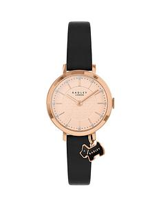 radley-rose-gold-detail-glitter-dial-with-dog-charm-and-black-leather-strap-ladies-watch