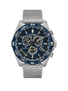 citizen-citizen-eco-drive-promaster-navihawk-blue-and-black-detail-chronograph-dial-stainless-steel-mesh-strap-mens-watch