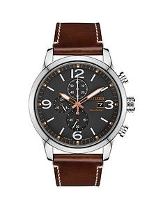citizen-citizen-eco-drive-wr100-grey-and-silver-detail-chronograph-dial-brown-leather-strap-mens-watch
