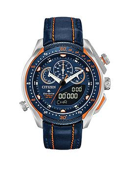 citizen-eco-drive-promaster-black-and-orange-detail-chronograph-dial-orange-stitched-black-leather-strap-mens-watch