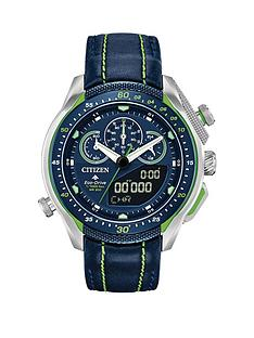citizen-citizen-eco-drive-promaster-black-and-green-detail-chronograph-dial-green-stiched-black-leather-strap-mens-watch