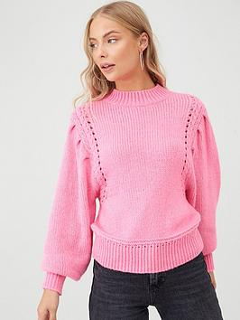 v-by-very-balloon-sleeve-with-fashioning-detail-jumper-pinknbsp