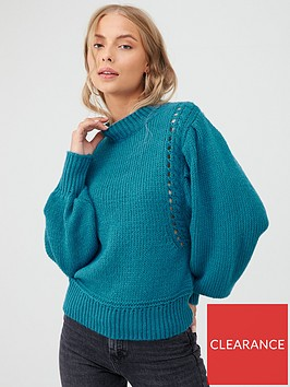 v-by-very-balloon-sleeve-fashioning-detail-jumper-teal