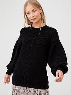 v-by-very-chunky-stitch-rib-detail-balloon-sleeve-jumper-black