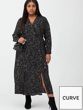 v-by-very-curve-button-detail-midi-dress-blackkhaki