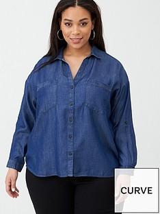 v-by-very-curve-button-through-denim-shirt-mid-wash