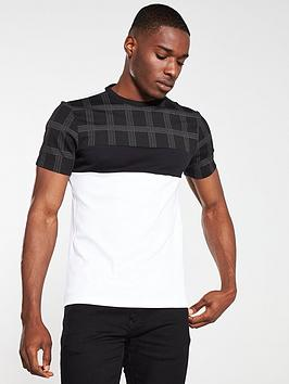 river-island-black-check-blocked-slim-fit-t-shirt