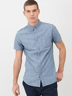 v-by-very-short-sleeve-slub-chambray-shirt-mid-blue