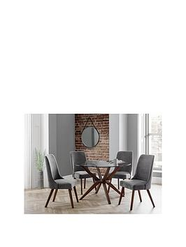 Julian Bowen Chelsea Large 120 Cm Glass Dining Table And 4 Huxley Chairs