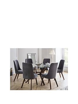 Julian Bowen Chelsea Large 140 Cm Glass Dining Table And 6 Huxley Chairs