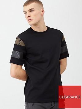 river-island-black-slim-fit-check-block-sleeve-t-shirt