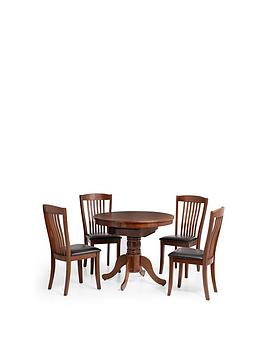 Julian Bowen Canterbury Round/Oval 90-120 Cm Extending Dining Table And 4 Chairs