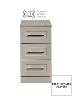 SWIFT Larson Ready Assembled 3 Drawer Bedside Chest with Integrated Wireless Charging