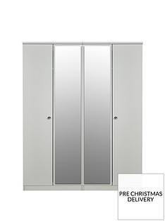 SWIFT Verve Ready Assembled 4 Door Mirrored Wardrobe