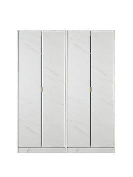 Product photograph showing Swift Marbella Part Assembled 4 Door Wardrobe
