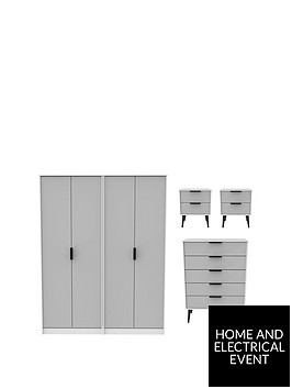 swift-copenhagen-4-piece-ready-assembled-package-4-door-wardrobe-5-drawer-chest-and-2-bedside-chests