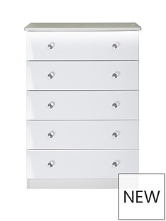 SWIFT Lumiere 5 Drawer Chest with Lights - White Gloss