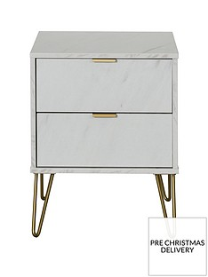 SWIFT Marbella Ready Assembled 2 Drawer Bedside Table