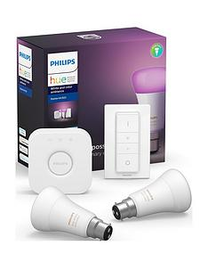 philips-hue-bt-white-and-colour-ambiance-b22-2-set-bridge-dimmer-kit