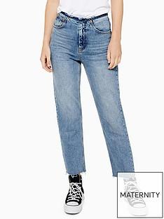 topshop-raw-waistband-straight-leg-jeans-mid-blue