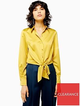 topshop-satin-knot-front-shirt-yellow