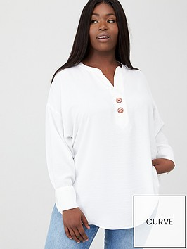 v-by-very-curve-button-dip-hem-blouse-ivory