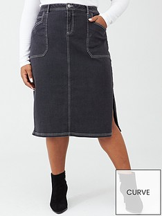 v-by-very-curve-contrast-stitch-denim-skirt-black