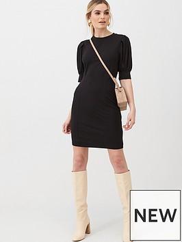 v-by-very-puff-sleeve-t-shirt-dress-black