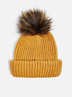 topshop-topshop-knitted-faux-fur-pom-pom-hat-mustard
