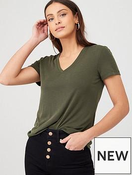 v-by-very-v-neck-short-sleeve-modal-t-shirt-khaki