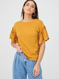 v-by-very-textured-frill-sleeve-t-shirt-mustard