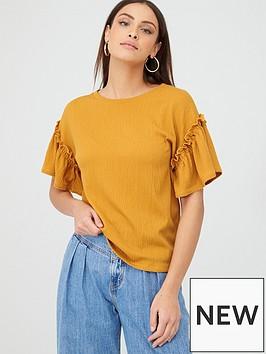 v-by-very-textured-frill-sleeve-t-shirt-mustard