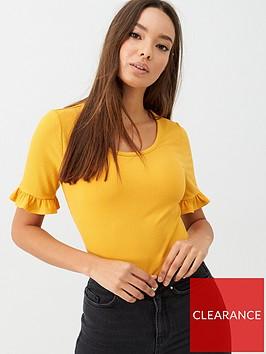 v-by-very-ribbed-frill-sleeve-top-mustard