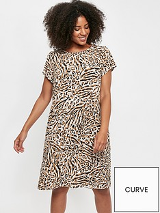 evans-ity-animal-zip-back-swing-dress-neutral