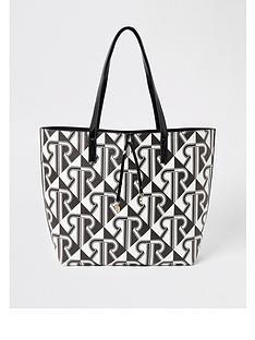 river-island-river-island-monogram-print-shopper-tote-black