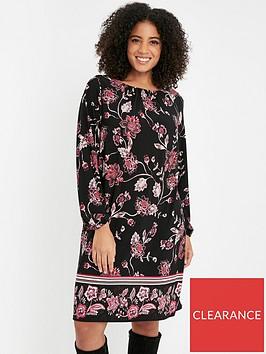 evans-floral-border-shift-dress-multi
