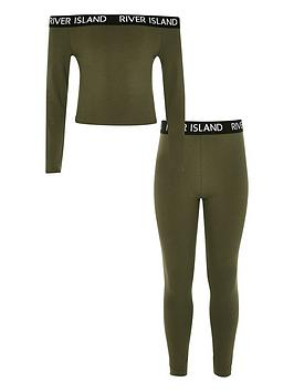 river-island-girls-bardot-top-and-legging-set--khaki