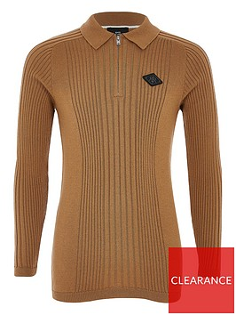 river-island-boys-long-sleeve-knitted-polo--brown