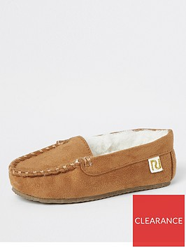 river-island-mini-mini-boys-moccasin-slipper-brown