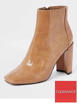 river-island-river-island-patent-smart-ankle-boot-tan