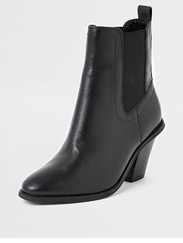 river-island-river-island-heeled-leather-western-boot-black