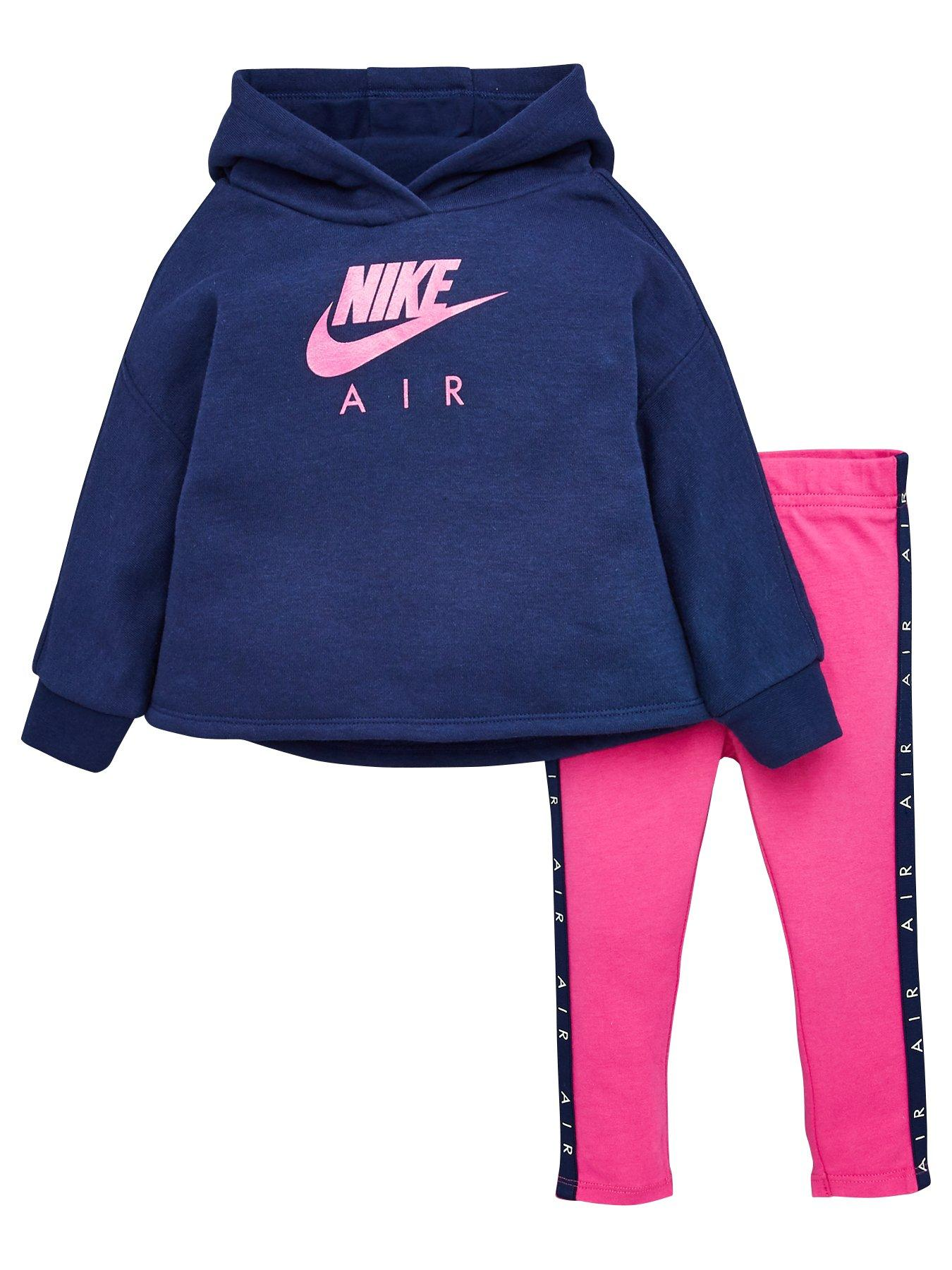 Nike Infant Therma Full Zip Tracksuit Children Hooded Jogging Suit Pink Blue