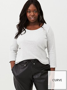 v-by-very-curve-three-quarter-sleeve-ribbed-jersey-top-grey