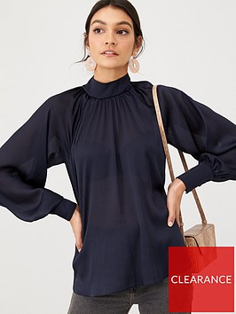 v-by-very-high-neck-balloon-sleeve-top-navy