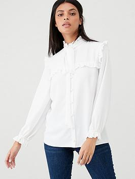 v-by-very-victoriana-ruffle-trim-blouse-ivory