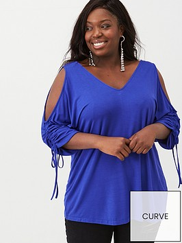 v-by-very-curve-ruche-cold-shoulder-top-cobalt