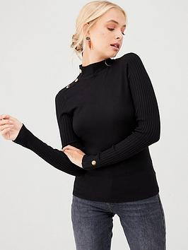 river-island-river-island-button-detail-turtle-neck-jumper--black