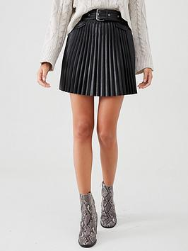 river-island-river-island-pu-pleated-belted-mini-skirt-black