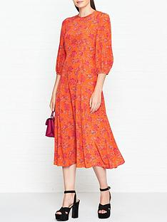lk-bennett-iris-print-bell-sleeve-dress-orange